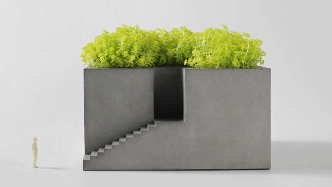 Handmade Concrete Architectural Square Succulent Planter / Plant Pot / Flower Pot