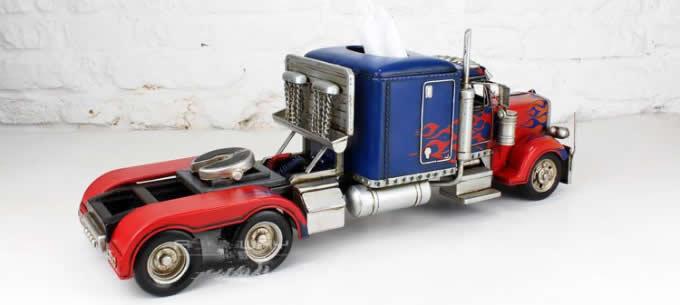 Handmade Trailer Carrier Truck Model Desk Tissue Box