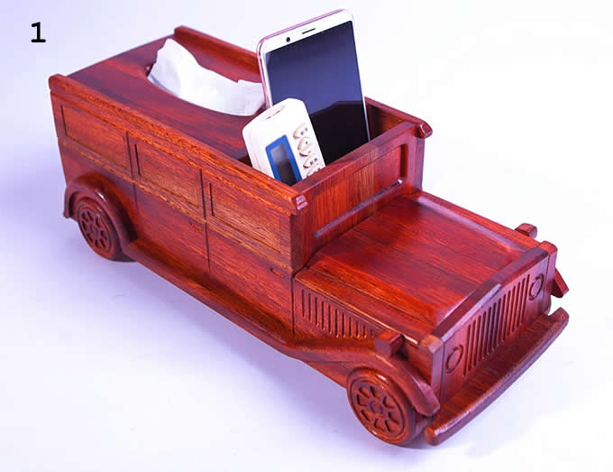 Wooden Classic Car Tissue Box