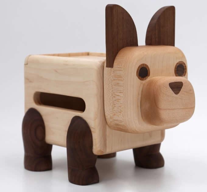 Handmade Wooden Dog Tissue Box