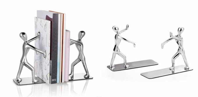 Metal Men Pushing Books Decorative Bookends