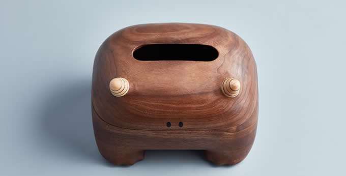 Morden Handmade Monster Shaped Wooden Tissue Box/Holder