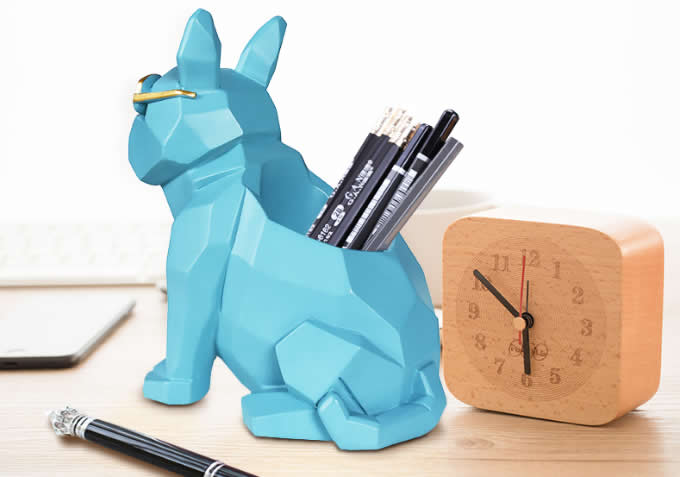 Resin Dog Pen Pencil Holder Desktop Organizer Home Ornaments