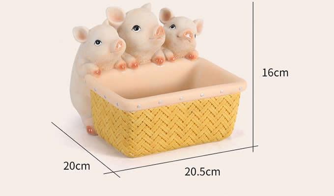 Resin Pig&Rabbit With Basket