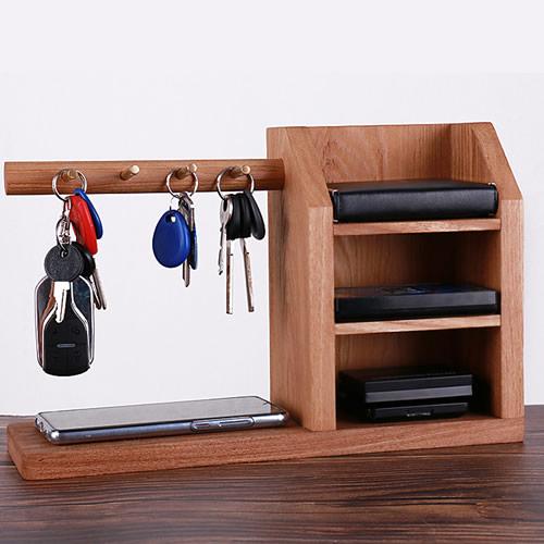 Simple desktop wooden storage box copper key hook