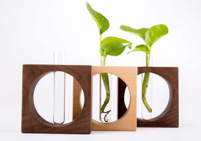 Test Tube Planter Flower Vase With Wooden Base Stand Feelgift