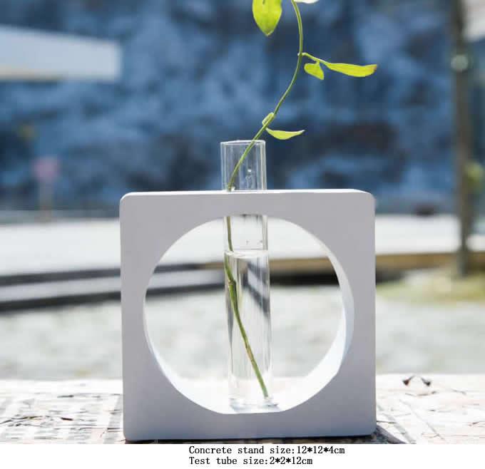 Test tube planter flower vase with concrete base stand for Test tube flower vase rack