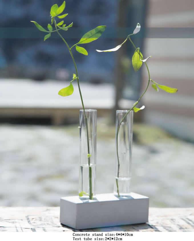 Test Tube Planter Flower Vase With Concrete Base Stand Feelgift