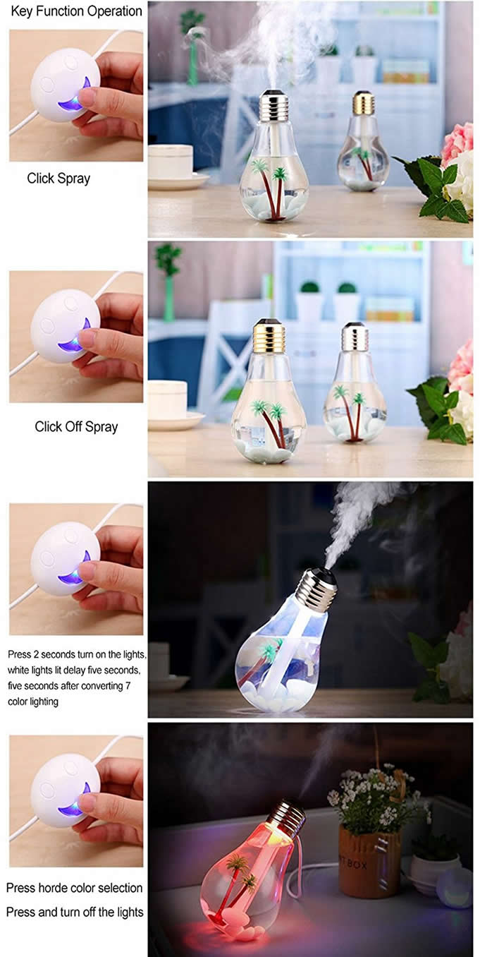 USB Bulb Shaped Mist Humidifier with Colorful LED Night Light