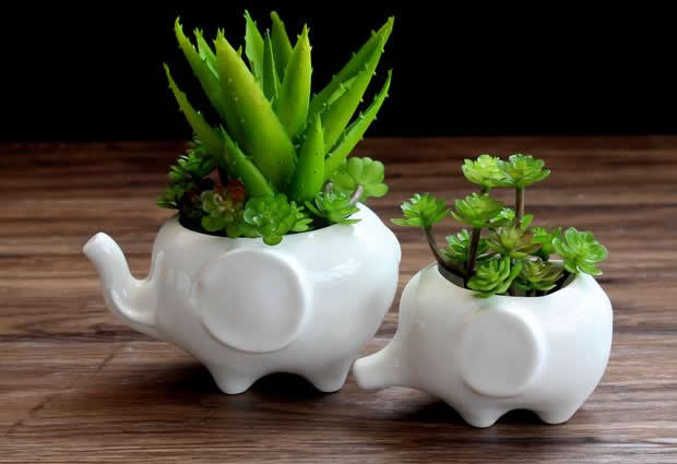 Set of 2 - White Elephant Ceramic Flower Pot