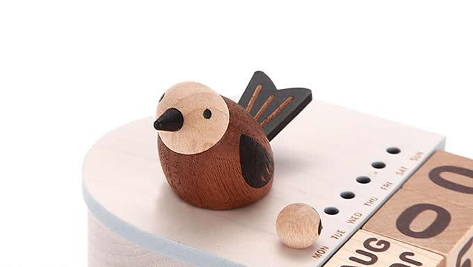 Wooden Bird Music Box Perpetual Calendar