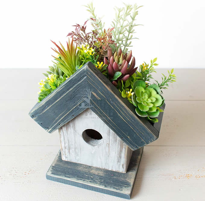 Wooden House shaped Flower Pot