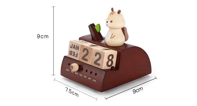 Wooden Squirrel Music Box Perpetual Calendar