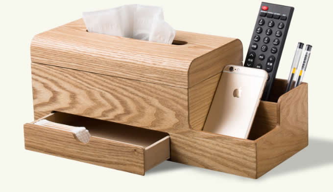 Wooden Tissue Box Cover Holder And Remote Control