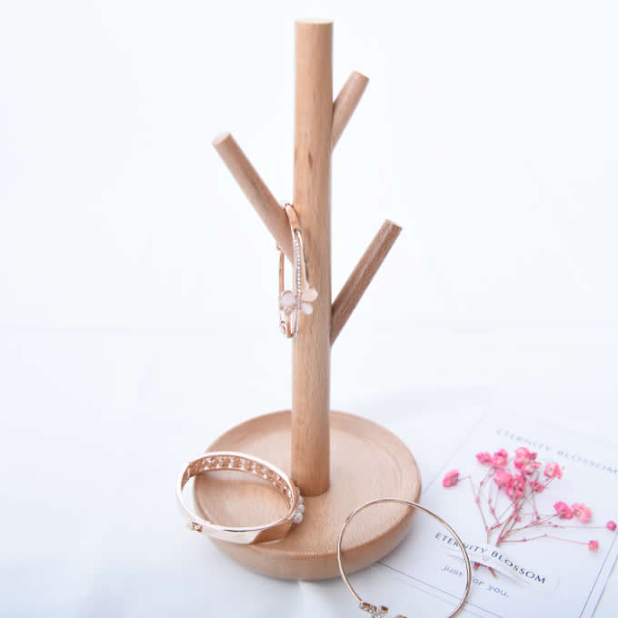 Wooden Tree Earrings Necklace Jewelry Display Stand Rack Holder