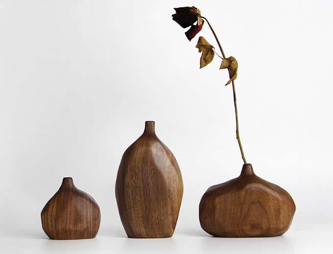 Handmade Wooden Vase,Black Walnut