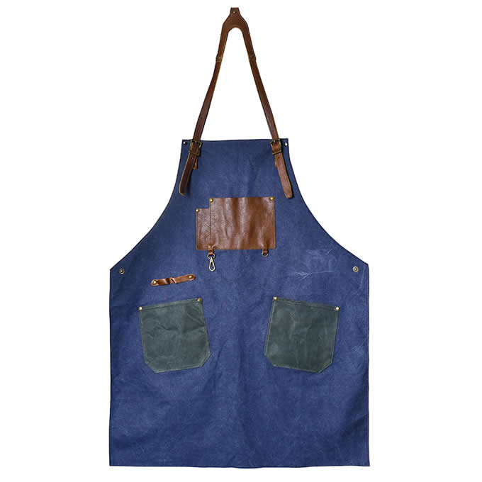 Genuine Leather & Canvas Heavy Duty Work Apron  with Adjustable  Straps for Men Women