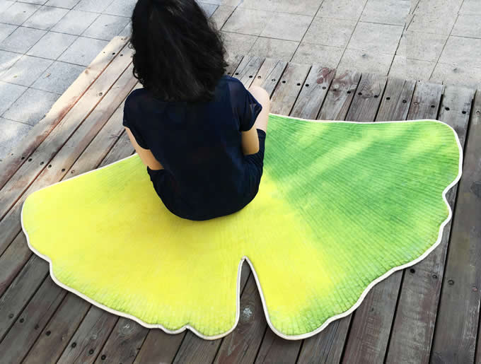 Leaf Shaped Area Floor Mat/Rug - Ginkgo Leaf