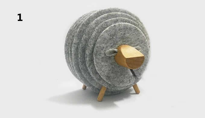 13 PCS Wool Felt Coaster Set with Wood Holder