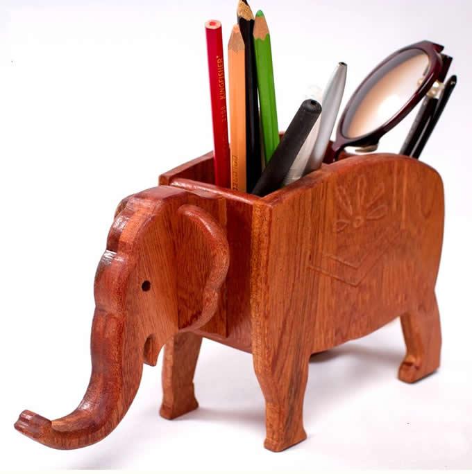 Elephant Shape Wooden Pen Cup/Pen Holder Desk Organizer