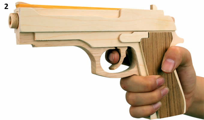 Wooden Rubber Band Gun with Extra Rubber Bands Ammo and  Targets