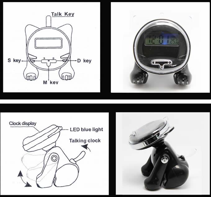 Cat Shape Lcd Alarm Clock