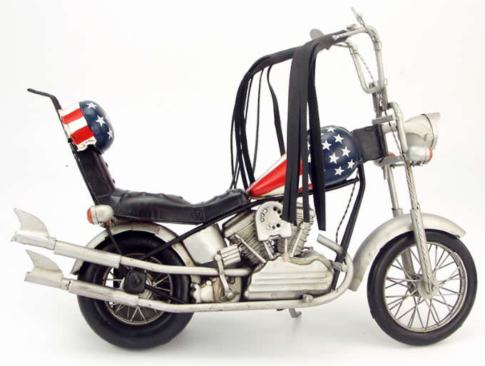Handmade Antique Model Kit Motorcycle-1969 Harley National Flag Motorcycle