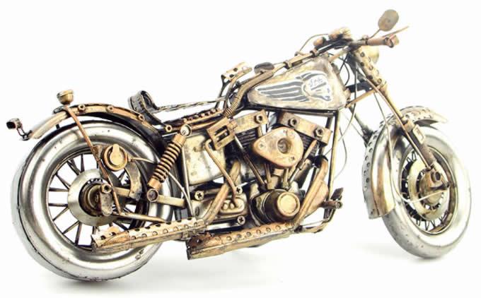 Handmade Antique Model Kit Motorcycle-Retro Harley Motorcycle