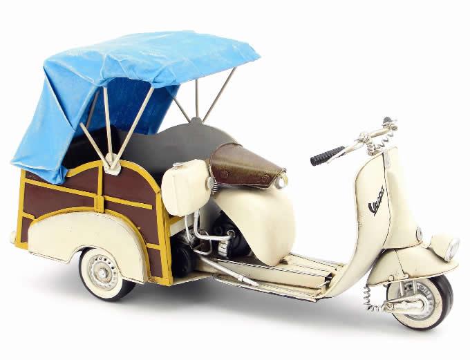 Handmade Antique Model Kit Motorcycle-VESPA 3 wheels Motor Scooter