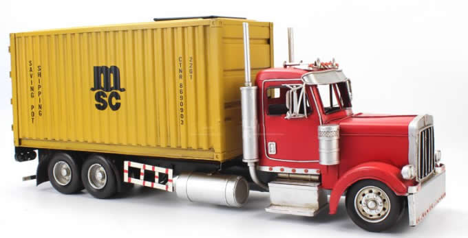 Handmade Shipping Container Tissue Box With Trailer Carrier Truck