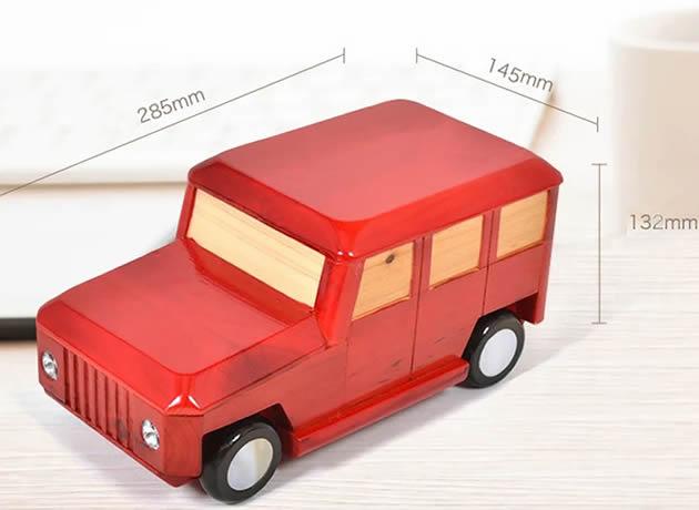 Creative suv vehicle shape handmade wooden car piggy bank coin box