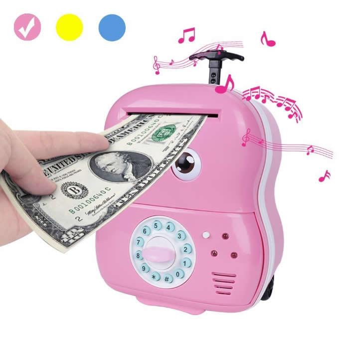 Cute Cartoon Password Piggy Bank Cash Coin Can Auto Scroll Paper Money Saving Box