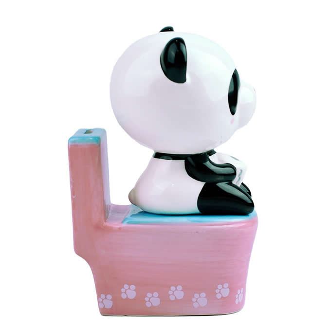 Cute Ceramic Panda Sitting On Toilet Home Ornament Piggy Bank
