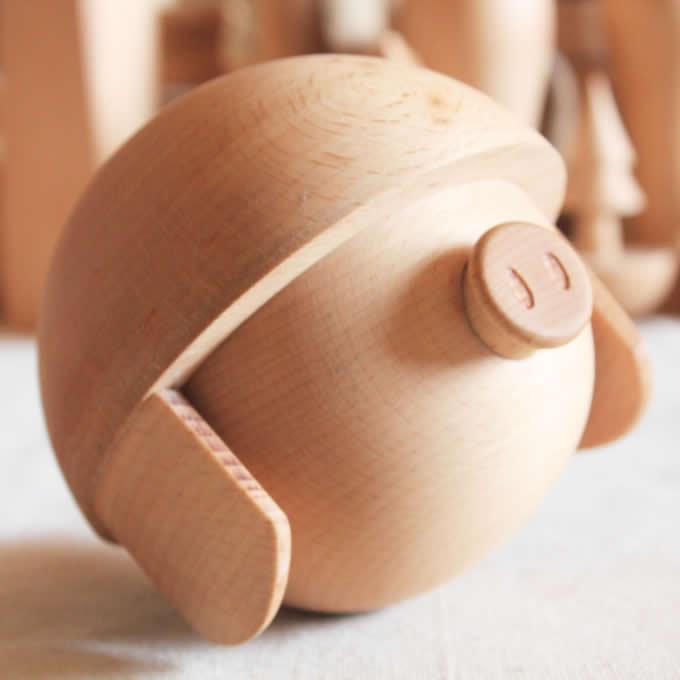 Handmade Wood Piggy Bank,Beech Wood