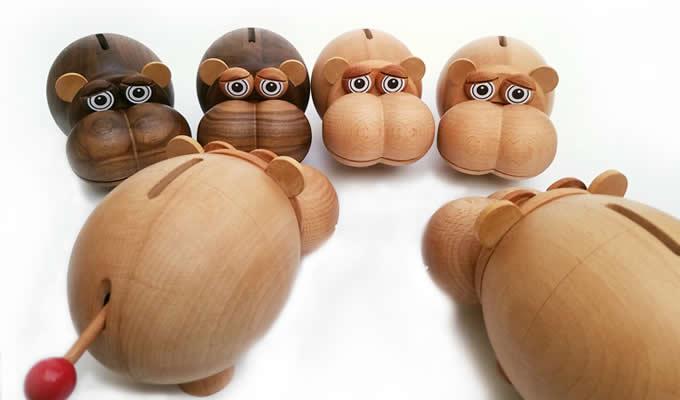 Wood Hippo Coin Bank Money Saving Box