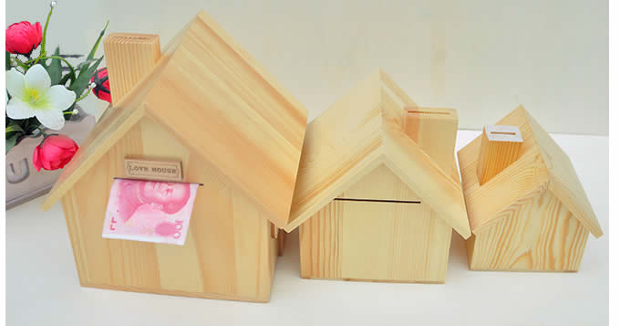 Wood  House Money Box Piggy Bank