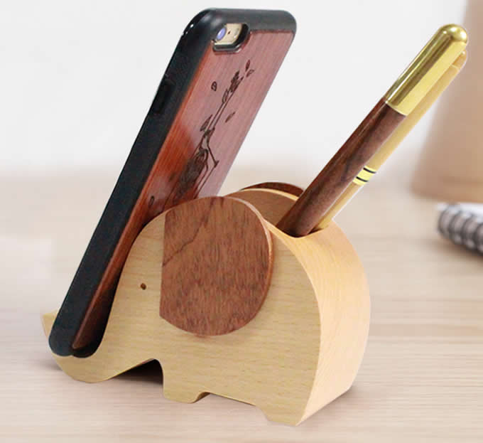 Wooden Elephant Shape Pen Cup/Pen Holder Desk Organizer with Cell Phone Stand