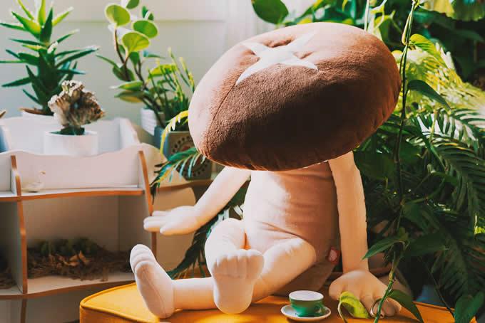 Cartoon Mushroom Plush Doll Back Cushion