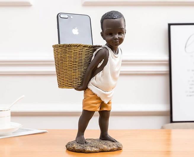 African Little Boy Back Basket Mobile Phone Holder Storage Pen Holder