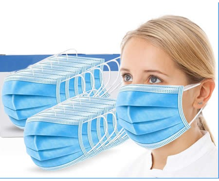 Disposable Medical Protective Mask Three Layer Nonwoven Filter of prevention air-borne droplets 50 pc