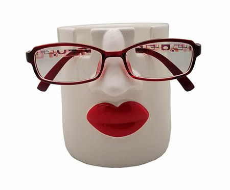 Woman Sexy Red Lips Glasses Holder Pen Holder