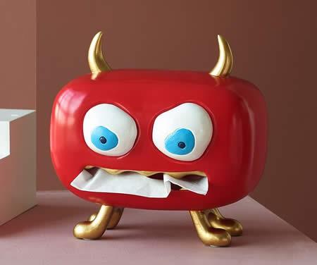 Fun Red Monster Cartoon Home Desktop Decoration Tissue Box