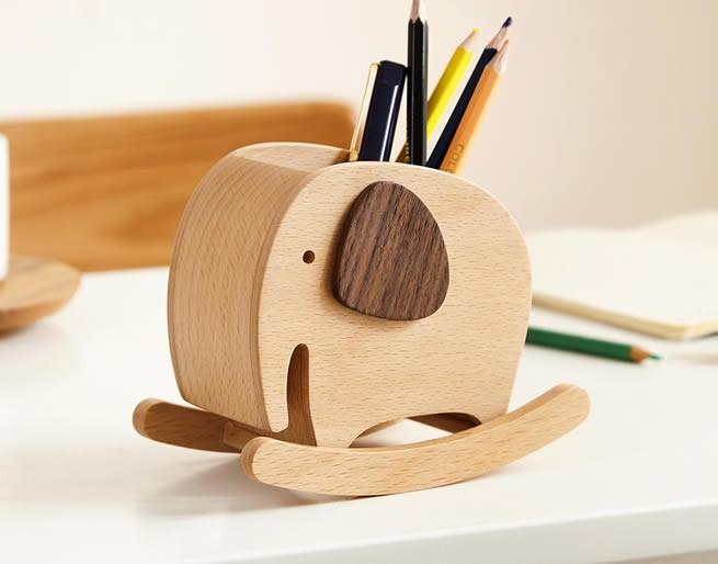 Cute Wooden Elephant Office Organize Storage Pen Holder