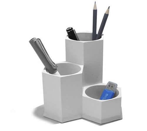 3 Compartment Concrete Office Desk Organizer
