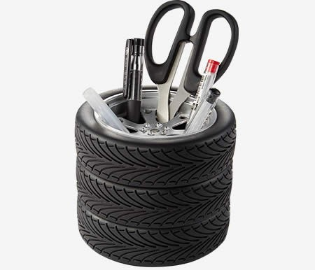 Fun Car Tire Shape Office Decoration Pen Holder Organize Box