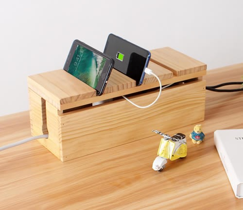 Desktop Wooden Power Outlet Organize Storage Box Wood Phone Holder