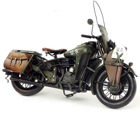 "Handmade Antique Model Kit Motorcycle- 1942 Harley-Davidson ""WLA"" Military Motorcycle"