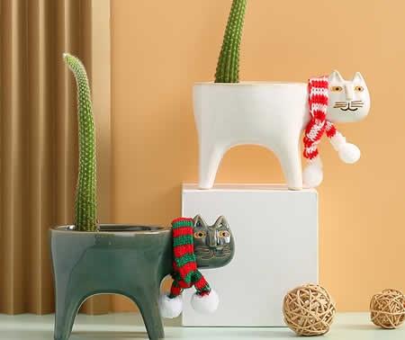 Cute Cartoon Cat Pastoral Cactus Plant Ceramic Small Flower Pot