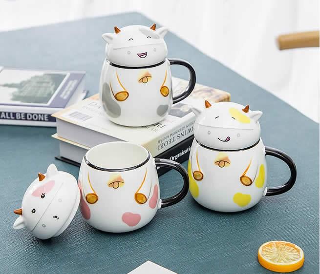 Cute Cartoon Happy Cow Ceramic Mug