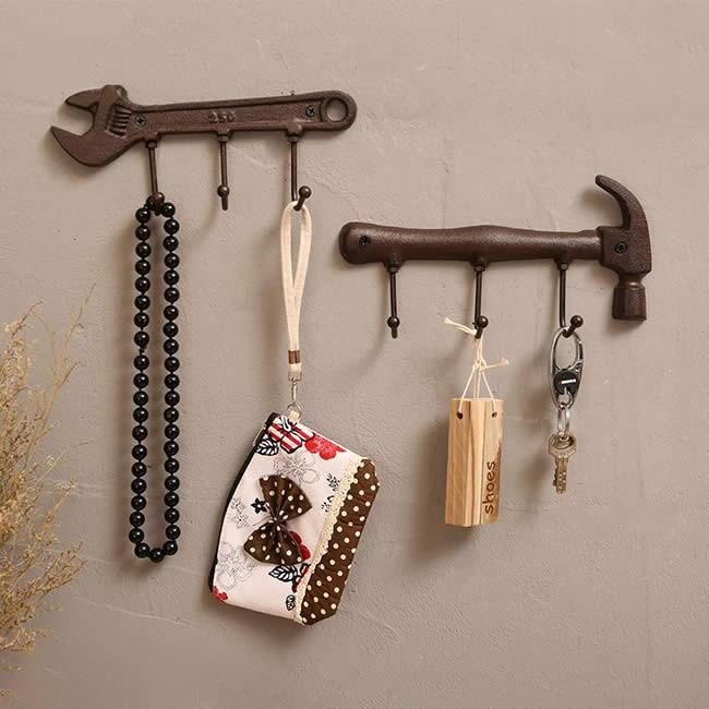Retro Hammer Wrench Tool Shape Wall Decoration Hook